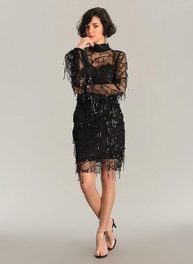 Agenda Sallantılı Payetli Mini Elbise Siyah